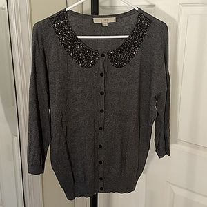 Loft beaded 3/4 sleeve cardigan